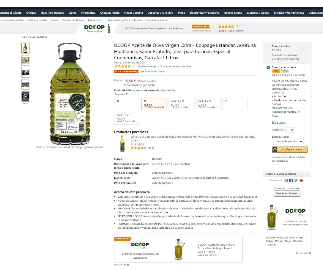 Dcoop, la marca de aceite más vendida en Amazon España