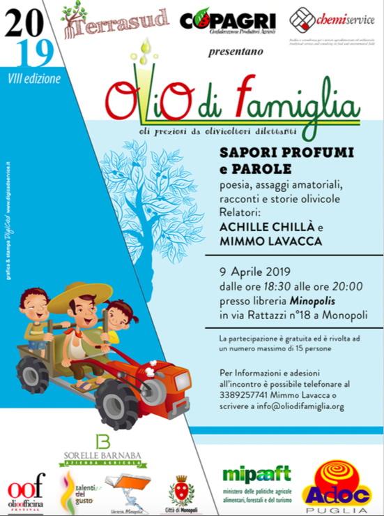 A Monopoli, poesie, racconti e storie olivicole del prof. Achille Chillà con gli assaggi d'olio di Mimmo Lavacca