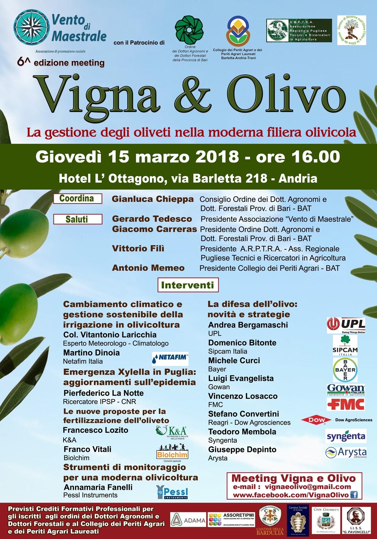 Andria, 15 marzo: Vigna&Olivo 2018 dedicato al comparto olivicolo