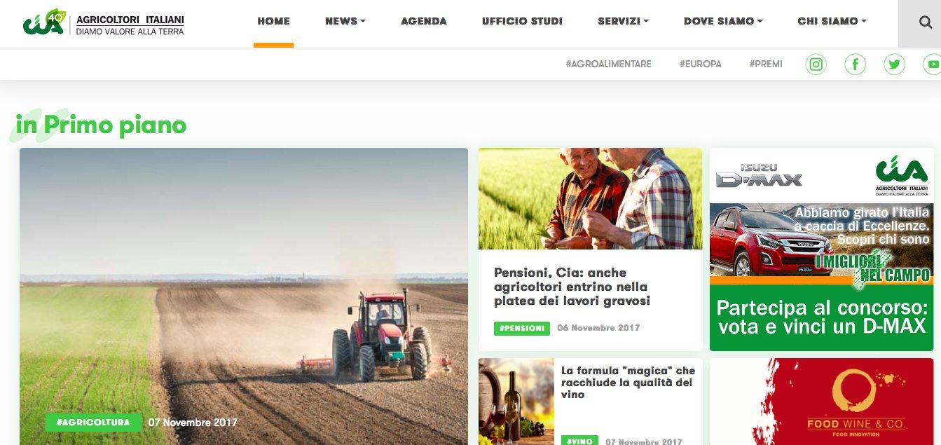 Nuovo sito web per la Cia Agricoltori Italiani