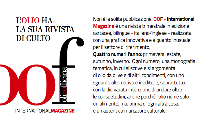 Campagna abbonamenti al trimestrale OOF International Magazine, edito da Olio Officina