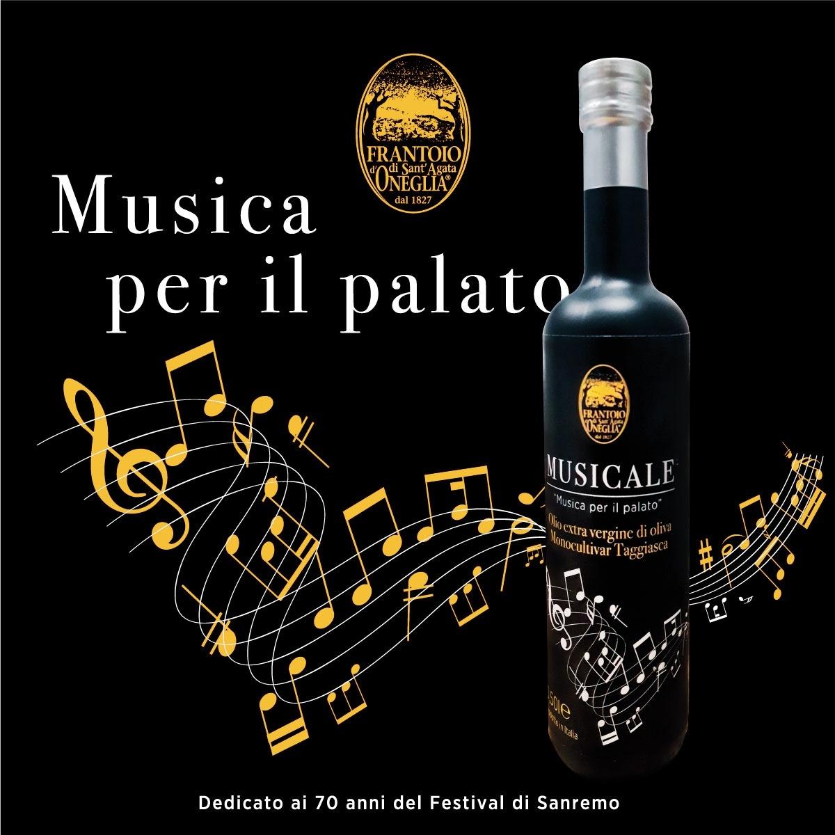 Bottiglia celebrativa del Frantoio di Sant'Agata d'Oneglia in occasione del Festival di Sanremo