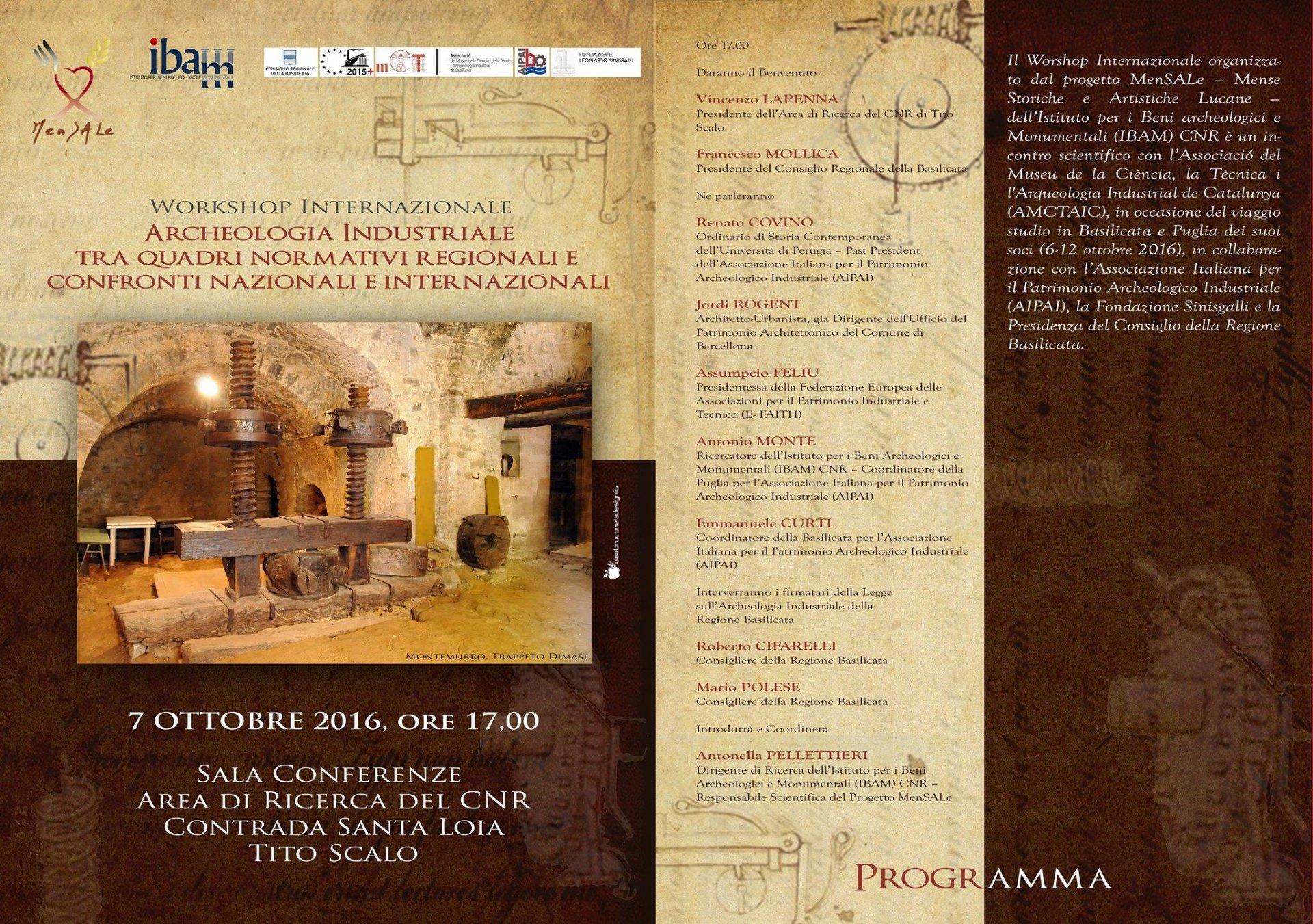 Tito Scalo, archeologia industriale tra quadri normativi regionali e confronti nazionali e internazionali