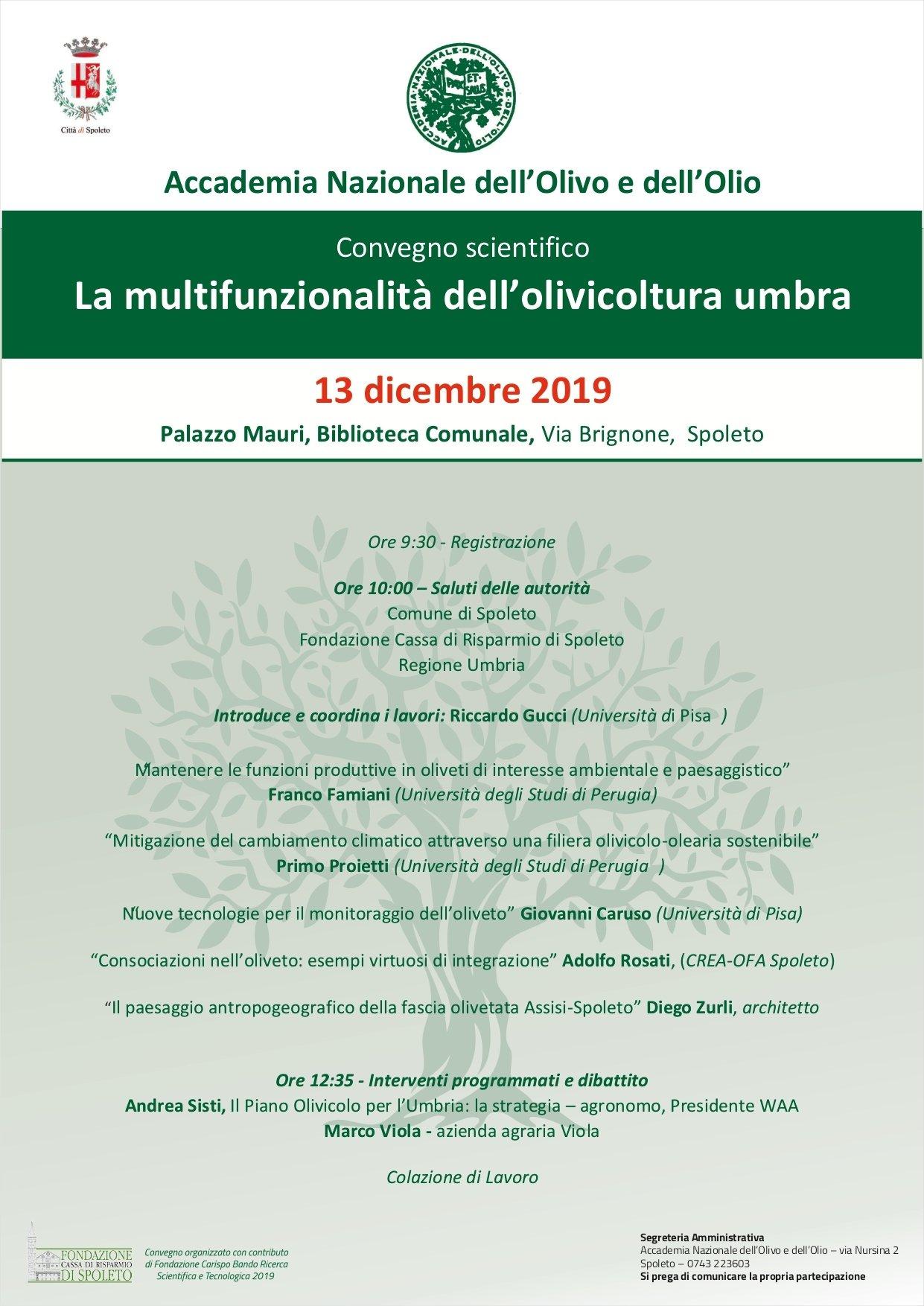 La multifunzionalità dell'olivicoltura umbra, il convegno dell'Accademia Nazionale dell'Olivo e Olio