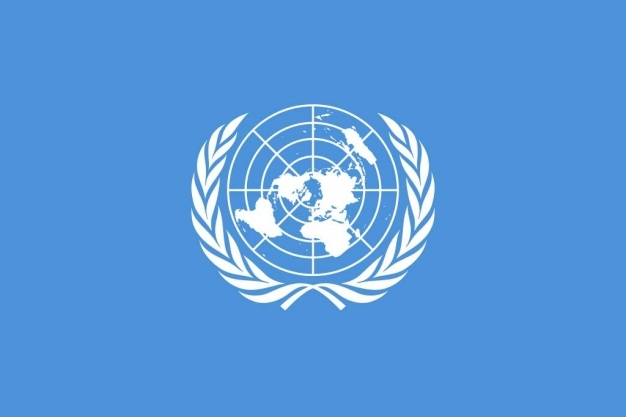 A wreath of olive branches on the UN flag