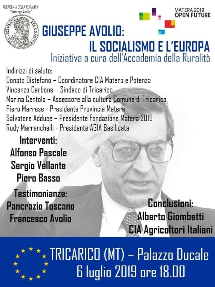 Tricarico, una riflessione storico-politica sulla sinistra e l'Europa nel pensiero e nell'opera di Giuseppe Avolio
