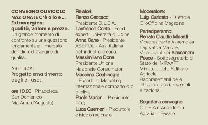 Un convegno a Fano, organizzato da Olea, con i protagonisti della filiera olivicola italiana