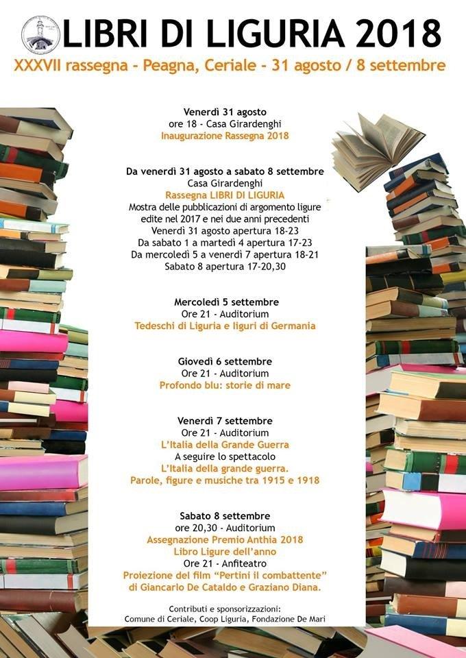 Peagna di Ceriale, inizia la XXXVII rassegna Libri di Liguria