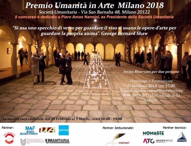 Milano, prende il via il Premio Umanità in Arte 2018