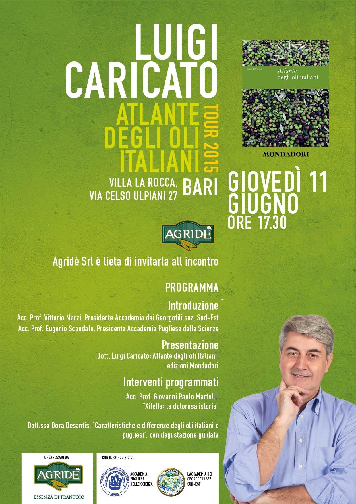 La presentazione dell'Atlante degli oli italiani di Luigi Caricato ai Georgofili a Bari