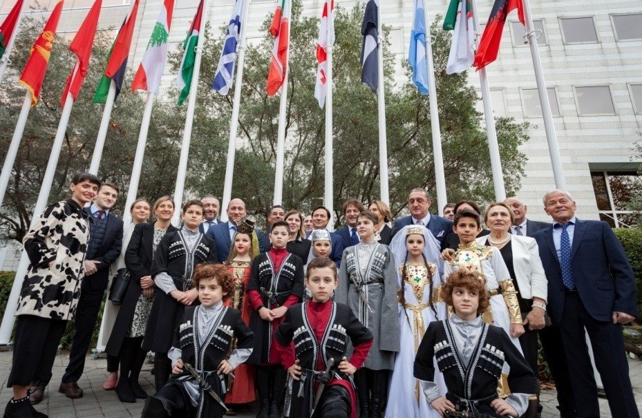 During the celebrations for the 60th anniversary of the IOC, the Georgian authorities raised the flag in front of the headquarters building and planted a young Georgian olive tree