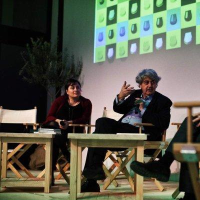 Angela Frenda, del Corriere della Sera, Luigi Caricato e Angelo Cremonini, di Olitalia, a Olio Officina Festival 2016
