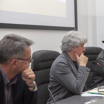 I giornalisti (da sx) Roberto Barat, Luigi Caricato e Valerio Visintin