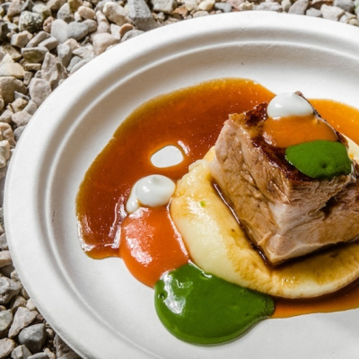 Fiocco di vitello brasato, fondo di vitello e whisky torbato, patata e salsa rubra - Matteo Felter -