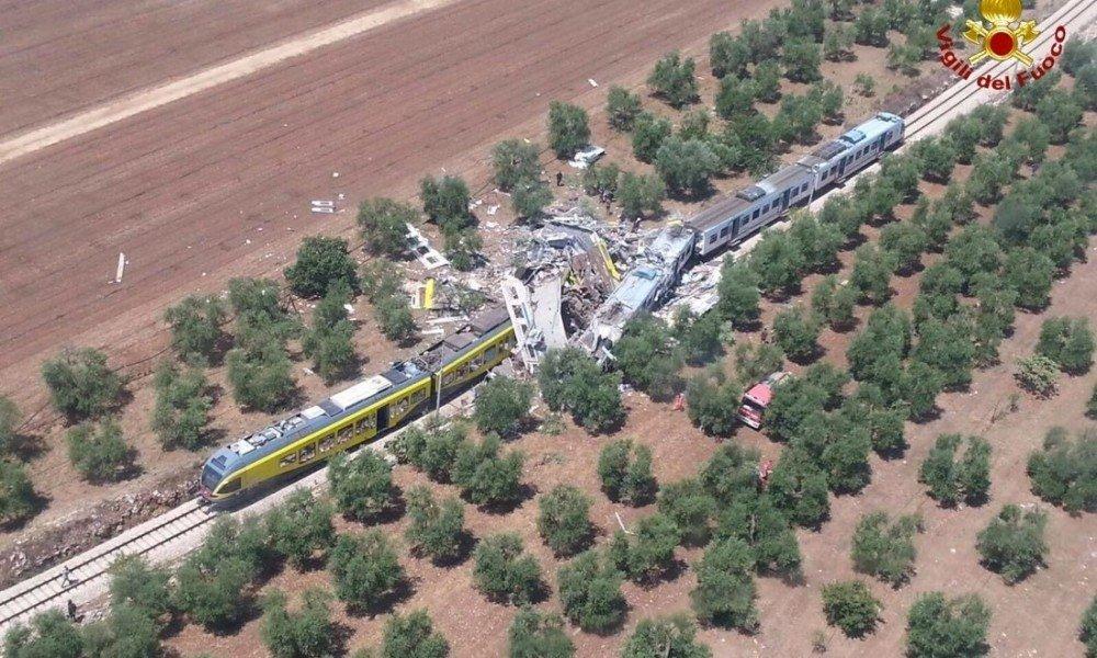 Lo scontro di due treni tra gli olivi